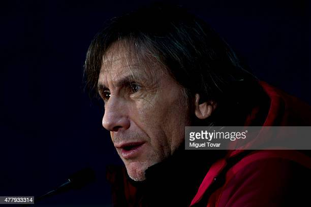 Ricardo Gareca, coach of Peru, looks on during a press conference at German Becker Stadium on June 20, 2015 in Temuco, Chile. Peru will face Colombia...