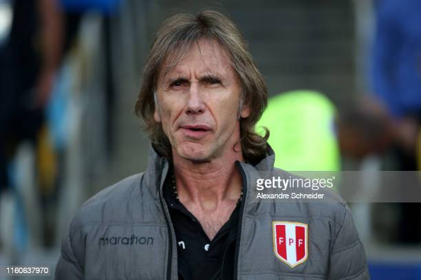 Ricardo Gareca coach of Peru looks on during the Copa America Brazil 2019 Final match between Brazil and Peru at Maracana Stadium on July 07 2019 in...