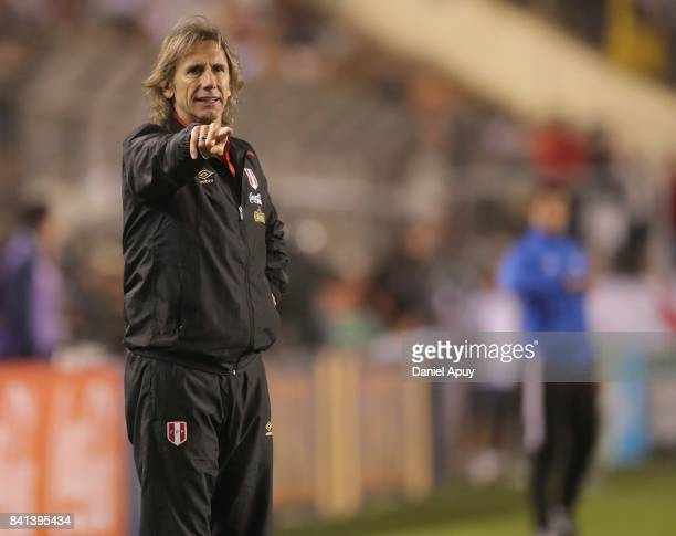 Ricardo Gareca coach of Peru reacts during a match between Peru and Bolivia as part of FIFA 2018 World Cup Qualifiers at Monumental Stadium on August...
