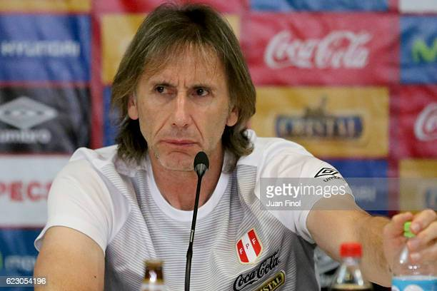 Ricardo Gareca coach of Peru speaks during a press conference at Swissotel Lima on November 13 2016 in Lima Peru Peru will face Brazil as part of...