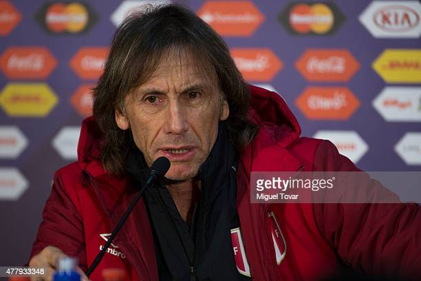 Ricardo Gareca coach of Peru talks during a press conference at German Becker Stadium on June 20 2015 in Temuco Chile Peru will face Colombia on June...