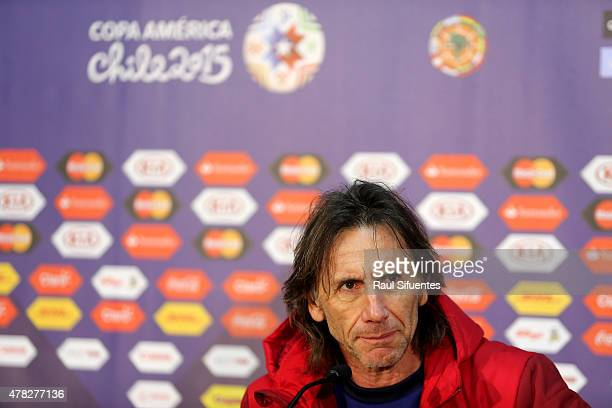 Ricardo Gareca coach of Peru talks during a press conference at German Becker Stadium on June 24 2015 in Temuco Chile