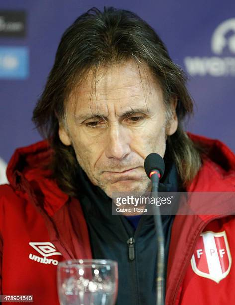 Ricardo Gareca, coach of Peru, talks during a press conference prior to the semi final match against Chile at Nacional Stadium as part of 2015 Copa...