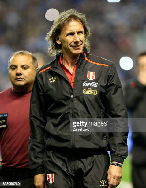 Ricardo Gareca coach of Peru walks onto the field before a match between Argentina and Peru as part of FIFA 2018 World Cup Qualifiers at Estadio...