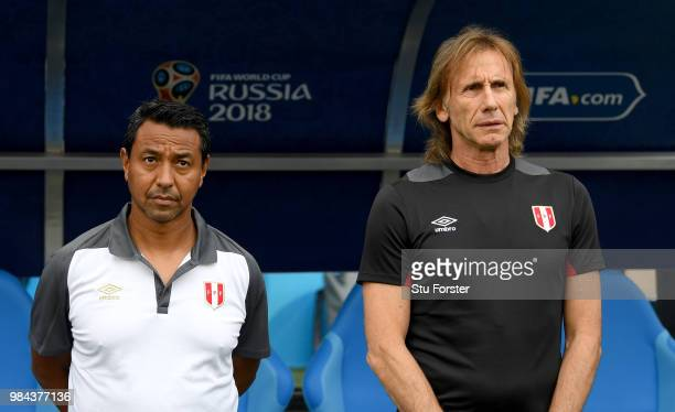 Ricardo Gareca Head coach of Peru alson with his assistant Nolberto Solano during the 2018 FIFA World Cup Russia group C match between Australia and...