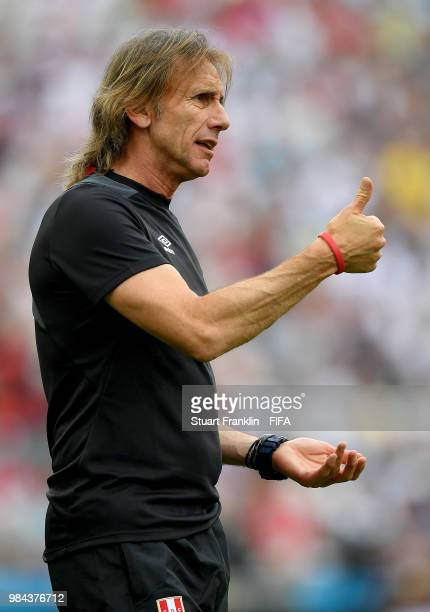 Ricardo Gareca Head coach of Peru directs his players during the 2018 FIFA World Cup Russia group C match between Australia and Peru at Fisht Stadium...