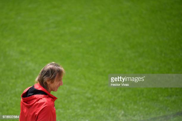 Ricardo Gareca head coach of Peru looks on during a training session at Arena Khimki on June 19 2018 in Moscow Russia