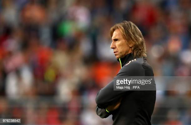 Ricardo Gareca Head coach of Peru looks on during the 2018 FIFA World Cup Russia group C match between Peru and Denmark at Mordovia Arena on June 16...