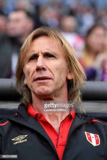 Ricardo Gareca Head coach of Peru looks on during the 2018 FIFA World Cup Russia group C match between France and Peru at Ekaterinburg Arena on June...