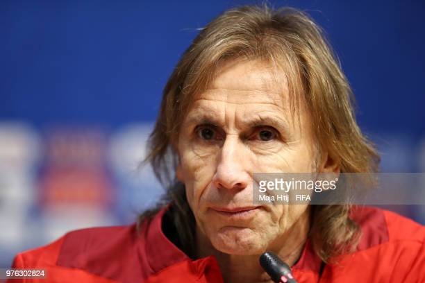 Ricardo Gareca Head coach of Peru looks on during the press conference after the 2018 FIFA World Cup Russia group C match between Peru and Denmark at...