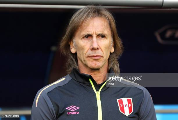 Ricardo Gareca Head coach of Peru looks on prior to the 2018 FIFA World Cup Russia group C match between Peru and Denmark at Mordovia Arena on June...