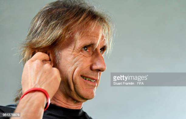 Ricardo Gareca Head coach of Peru looks on prior to the 2018 FIFA World Cup Russia group C match between Australia and Peru at Fisht Stadium on June...