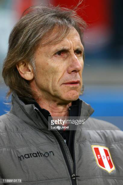 Ricardo Gareca head coach of Peru looks on prior to the Copa America Brazil 2019 Semi Final match between Chile and Peru at Arena do Gremio on July...