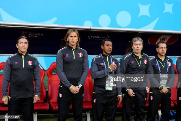 Ricardo Gareca Head coach of Peru looks on with staff members during the 2018 FIFA World Cup Russia group C match between Peru and Denmark at...