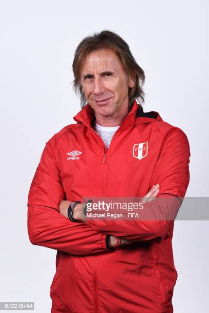 Ricardo Gareca Head coach of Peru poses for a portrait during the official FIFA World Cup 2018 portrait session at the Team Hotel on June 11 2018 in...
