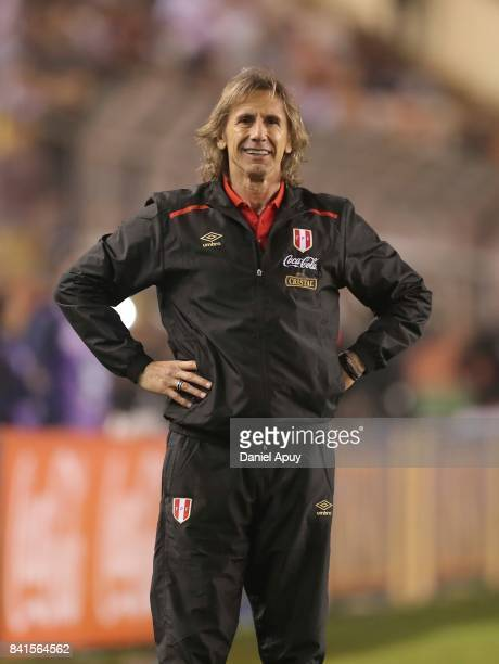 Ricardo Gareca head coach of Peru reacts during a match between Peru and Bolivia as part of FIFA 2018 World Cup Qualifiers at Monumental Stadium on...