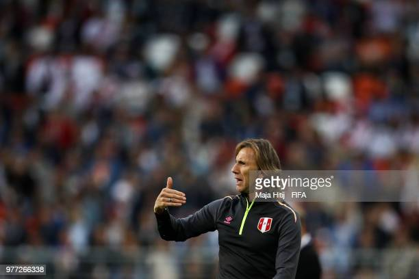 Ricardo Gareca Head coach of Peru reacts during the 2018 FIFA World Cup Russia group C match between Peru and Denmark at Mordovia Arena on June 16...