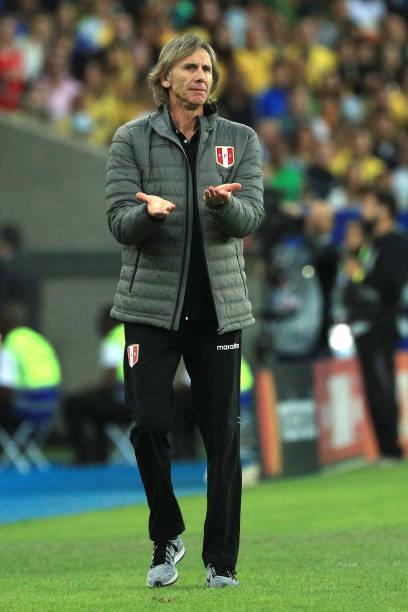 Ricardo Gareca head coach of Peru reacts during the Copa America Brazil 2019 Final match between Brazil and Peru at Maracana Stadium on July 07 2019...