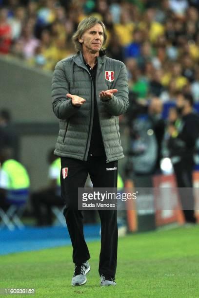 Ricardo Gareca head coach of Peru reacts during the Copa America Brazil 2019 Final match between Brazil and Peru at Maracana Stadium on July 07, 2019...