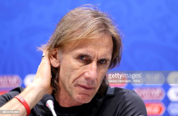 Ricardo Gareca Head coach of Peru speaks during a press conference after the 2018 FIFA World Cup Russia group C match between Australia and Peru at...