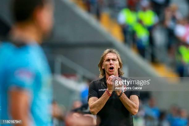 Ricardo Gareca head coach of reacts Peru during the Copa America Brazil 2019 Group A match between Venezuela and Peru during at Arena do Gremio...