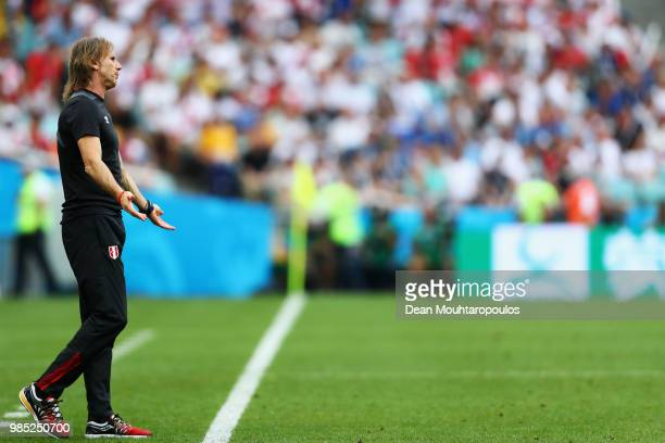 Ricardo Gareca Head Coach or Manager of Peru reacts during the 2018 FIFA World Cup Russia group C match between Australia and Peru at Fisht Stadium...