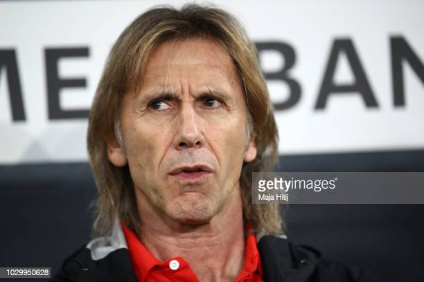 Ricardo Gareca Manager of Peru looks on prior to the International Friendly match between Germany and Peru at RheinNeckarArena on September 9 2018 in...