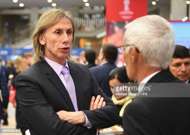 Ricardo Gareca Manager of Peru speaks to guests prior to the Final Draw for the 2018 FIFA World Cup Russia at the State Kremlin Palace on December 1...