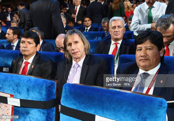 Ricardo Gareca Manager of Peru takes his seat during the Final Draw for the 2018 FIFA World Cup Russia at the State Kremlin Palace on December 1 2017...