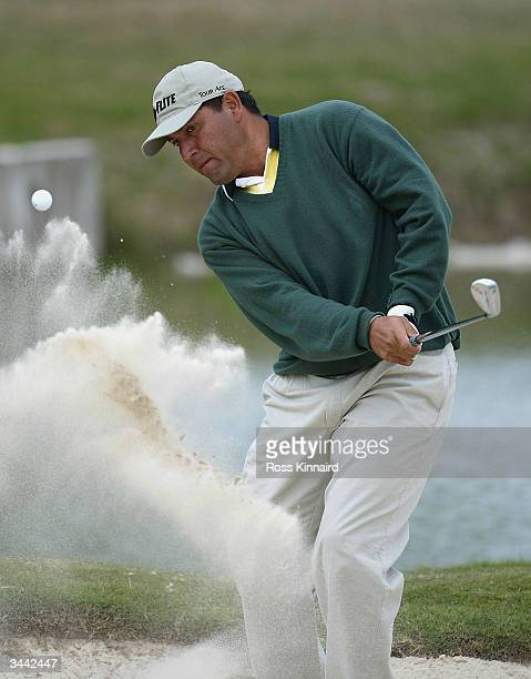 Ricardo Gonzalez of Argentina plays his second shot on the par three third hole during the final round of the Open de Seville played at the Real Club...