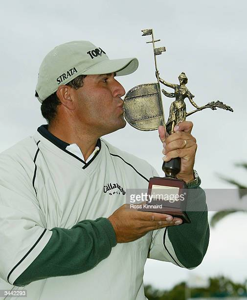 Ricardo Gonzalez of Argentina with the winners trophy the final round of the Open de Seville played at the Real Club de Golf on April 18 2004 in...