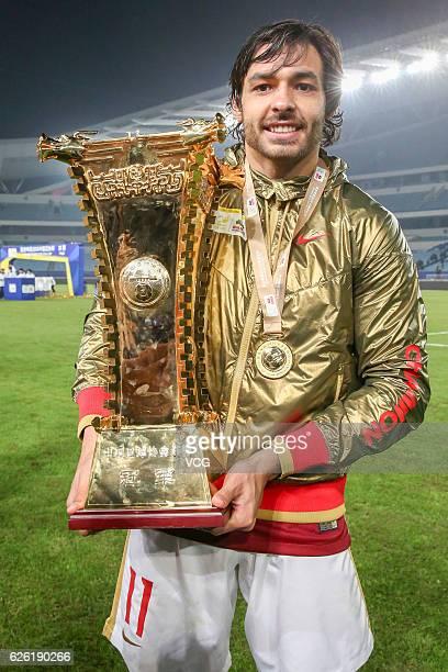 Ricardo Goulart celebrates as Guangzhou Evergrande Taobao Football Club wins Jiangsu Suning Football Club during the final second leg of Yanjing Beer...
