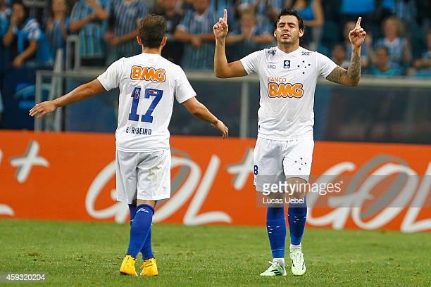 Ricardo Goulart of Cruzeiro celebrates their first goal during the match Gremio v Cruzeiro as part of Brasileirao Series A 2014 at Arena do Gremio on...
