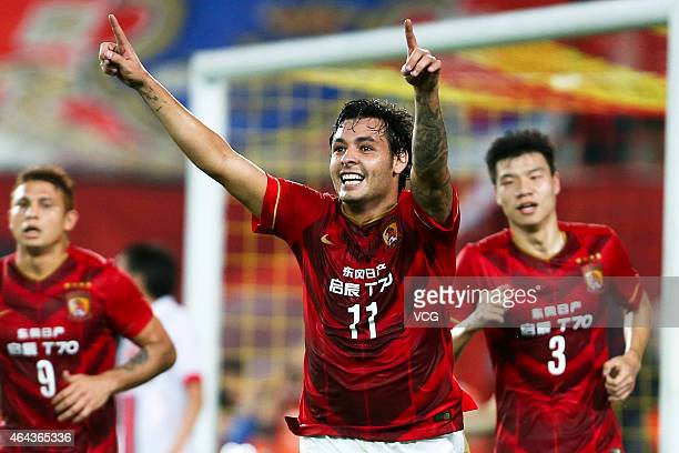Ricardo Goulart Pereira of Guangzhou Evergrande celebrate his goal during the AFC Asian Champions League match between Guangzhou Evergrande and...