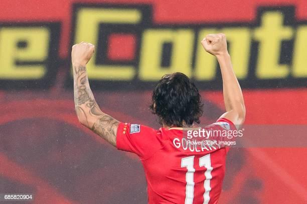 Ricardo Goulart Pereira of Guangzhou Evergrande FC celebrates during their AFC Champions League 2017 Match Day 1 Group G match between Guangzhou...