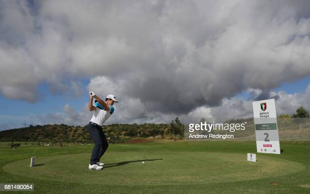 Ricardo Gouveia of Portugal hits his teeshot on the second hole during the Open de Portugal at Morgado Golf Resort on May 10 2017 in Portimao Portugal