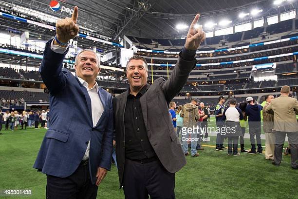Ricardo Guadalupe and Rick De La Croix walk on the field as Hublot unveils the Big Bang Dallas Cowboys timepieces at ATT Stadium on November 1 2015...