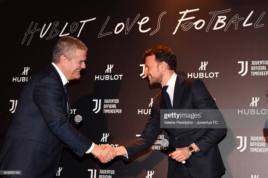 Ricardo Guadalupe (L) CEO of Hublot and Giorgio Ricci of Juventus attend the unveiling of partnership renewal between Hublot and Juventus at Allianz Stadium on February 21, 2018 in Turin, Italy.