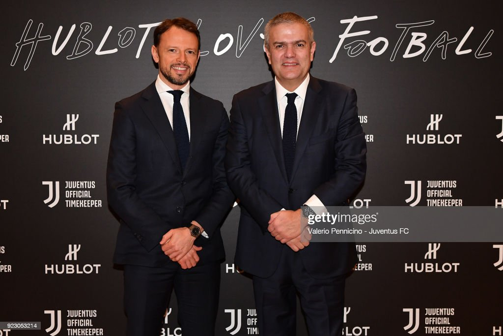 Ricardo Guadalupe (R) CEO of Hublot and Giorgio Ricci of Juventus attend the unveiling of partnership renewal between Hublot and Juventus at Allianz Stadium on February 21, 2018 in Turin, Italy.