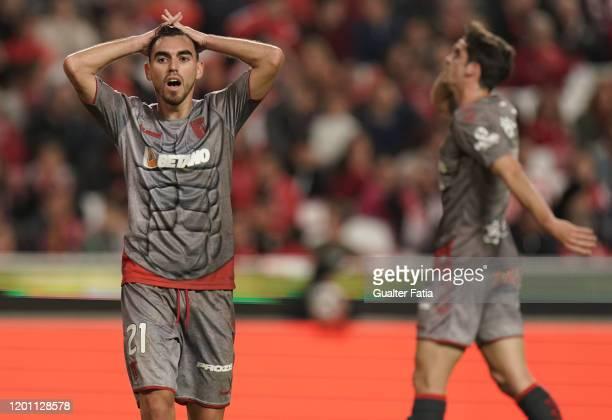 Ricardo Horta of SC Braga reaction after missing a goal opportunity during the Liga NOS match between SL Benfica and SC Braga at Estadio da Luz on...