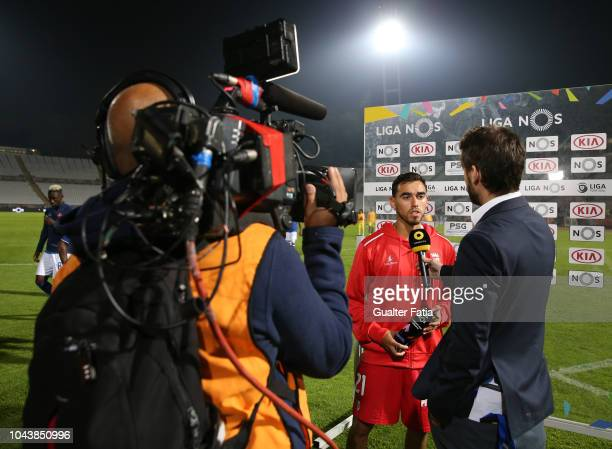 Ricardo Horta of SC Braga receives the match MVP Award during the TV flash interview at the end of the Liga NOS match between Belenenses SAD and SC...