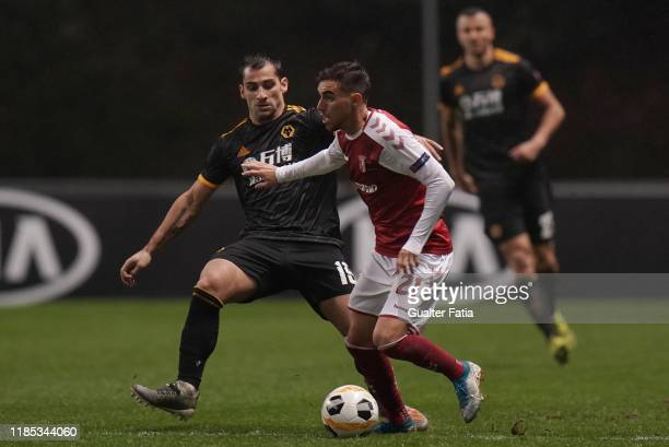 Ricardo Horta of SC Braga with Jonny of Wolverhampton Wanderers in action during the Group K UEFA Europa League match between SC Braga and...