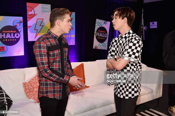 Ricardo Hurtado and Jacob Sartorius pose backstage at the 2017 Nickelodeon HALO Awards at Pier 36 on November 4 2017 in New York City
