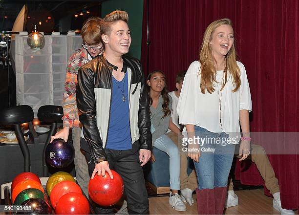Ricardo Hurtado and Jade Pettyjohn attend Breanna Yde's 13th Birthday Party at Lucky Strike Lanes at LA Live on June 11 2016 in Los Angeles California