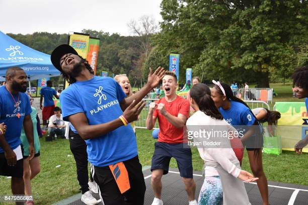 Ricardo Hurtado plays Four Square at Nickelodeon's Worldwide Day Of Play Celebration at the Nethermead in Prospect Park on September 16 2017 in...