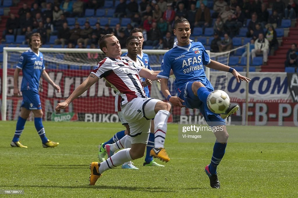 Ricardo Ippel of Willem II , Adam Maher of AZ during the Dutch Eredivisie match between Willem II and AZ Alkmaar on May 12, 2013 at the Koning Willem II stadium in Tilburg, The Netherlands.