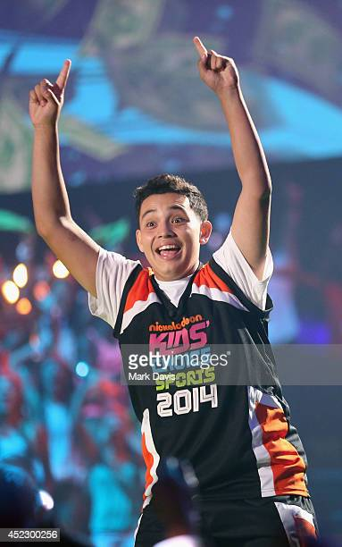 Ricardo Jacobo Jr speaks onstage during Nickelodeon Kids' Choice Sports Awards 2014 at UCLA's Pauley Pavilion on July 17 2014 in Los Angeles...
