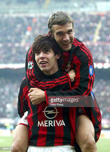Ricardo Kaka and Andriy Shevchenko celebrate a goal during the Serie A match between AC Milan and Reggina at the San Siro Stadium on January 11 2004...