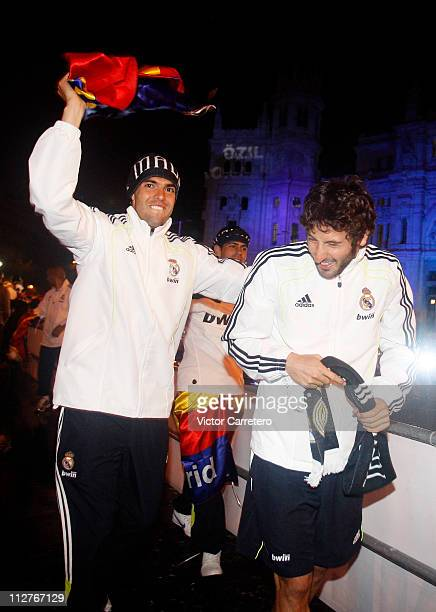 Ricardo Kaka and Esteban Granero of Real Madrid celebrate from an open bus at Plaza Cibeles on April 21 2011 in Madrid Spain Real beat Barcelona 10...