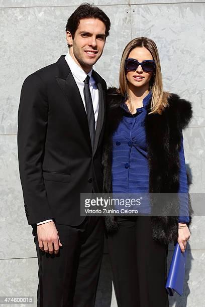 Ricardo Kaka and wife Carolina Celico attend the Giorgio Armani show during the Milan Fashion Week Womenswear Autumn/Winter 2014 on February 24 2014...